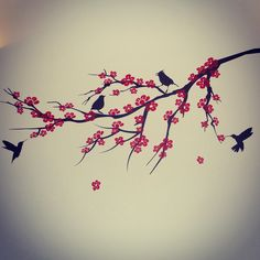 Sakura cherry blossom black red bird tree branch wall decal