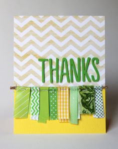 Thanks card - by Cindy Tobey using product from American Crafts. #scrapbooking #ribbon #Thickers #cards #cardmaking