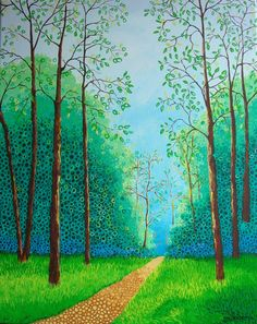 "Landscape Painting Abstract Painting Acrylic Tree Painting Art by Glorianna 16"" x 20"" Blue Green Circle Painting"