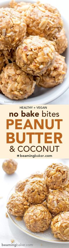 No Bake Peanut Butter Coconut Bites: delicious easy to make. No Bake Peanut Butter Coconut Bites: delicious easy to make energy-boosting and super-filling. Made of just 6 simple ingredients vegan gluten free and healthy.COM Christmas Gifts Vegan Snacks, Vegan Desserts, Vegan Recipes, Snack Recipes, Cooking Recipes, Italian Desserts, Coconut Recipes Healthy, Dessert Recipes, Diet Snacks