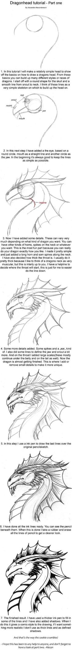 Dragonhead Tutorial part one by alecan.deviantart.com on @deviantART by suzanne