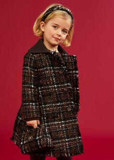 DOLCE & GABBANA FW 20/21 Girls Designer Clothes, Girls Special Occasion Dresses, Dolce And Gabbana Kids, Check Coat, Tweed Coat, Black Leather Ankle Boots, Mini Me, Stylish Girl, Boy Outfits