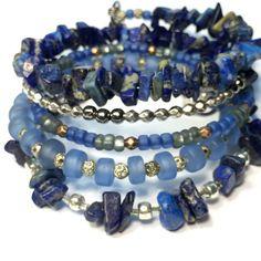 Ляпис синих серебряного провода стек браслета памяти браслет обруч синий