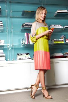 """Spring Color. An effortless color blocked dress is sure to put a spring in your step."" -Lubov Azria"