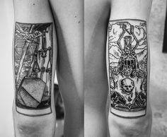 Antique balck and white tarot tattoo done at Spunker Tattoo - Bucarest Black Tattoos, Body Art Tattoos, Tattoo Drawings, Sleeve Tattoos, Cool Tattoos, Mini Tattoos, Tattoo Sketches, Tatoos, Tattoo Artists Near Me