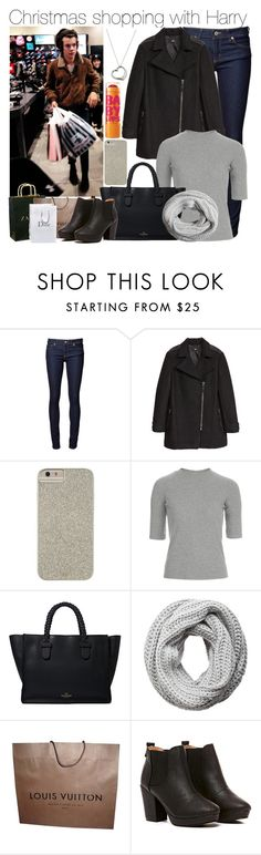 """""""Christmas shopping with Harry"""" by perfectharry ❤ liked on Polyvore featuring Naked & Famous, H&M, Case-Mate, Topshop, Zara, Valentino, Pieces, Louis Vuitton, CO and Maybelline"""
