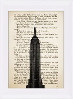 Art composition with the the famous Empire State Building in New York, printed…
