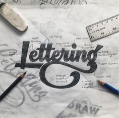 TierneyStudio on Instagram, Lettering - kerning, move right, exaggerate swoop, more oval, more contrasting ear, enlarge swash terminal, hand-lettering with notes