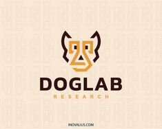 Animal logo in the shape of a dog head composed of abstract shapes with brown and yellow colors.(dog, puppy, animal, pet, lab, abstract, science, laboratory, researcher, app,  logo for sale, logo design, logo, lototipo, logotype).