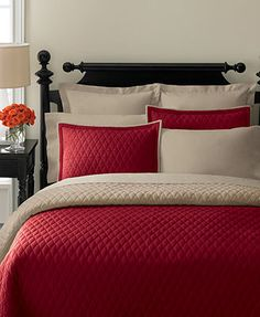 Martha Stewart Collection Bedding, Solid Diamond Red Quilts  - Bring a taste of homespun elegance to your room with the Solid Diamond quilts and shams from Martha Stewart Collection. Featuring an allover quilting pattern in soft 100% cotton for an appeal that's decidedly charming    #MarthaMacys