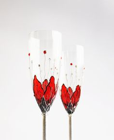 MADE to ORDER Hand Painted Flutes Toasting Champagne Wedding Anniversary Red Flowers Silver Plated Swarovski Crystals Set of 2. $49.80, via Etsy.