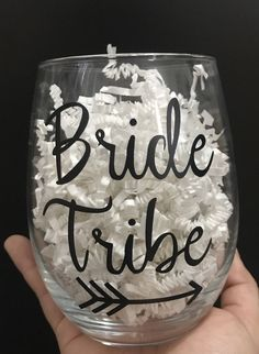 Bride Tribe/ Bride Tribe stemless wine glass/ Wine glass/ Bridal party/Bridesmaids/ wedding/ Bachelorette party/ engaged/ bride by PeachBliss8 on Etsy