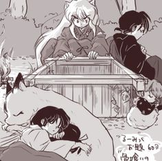 Aww this is such a sweet drawing of the Inuyasha gang! They are all waiting for Kagome to get back from her time Amor Inuyasha, Inuyasha Funny, Inuyasha Fan Art, Inuyasha And Sesshomaru, Kagome And Inuyasha, Miroku, Kagome Higurashi, Kirara, Manga Anime