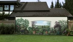 Wandmalerei auf einer ca. 8m langen Hauswand in Berlin-Zehlendorf.