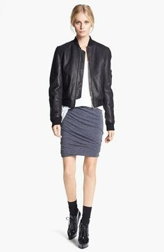 T by Alexander Wang Reversible Leather & Nylon Bomber Jacket | Nordstrom