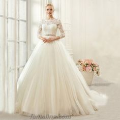 2017 elegant ivory lace illusion three quarter sleeves beaded belt ball gown wedding dresses