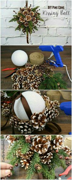 DIY Pine Cone Crafts for Your Holiday Decoration DIY Kissing Ball with Pine Cones. This beautiful pine cone DIY kissing ball is the perfect alternative to the traditional winter wreath for the fall and holiday decoration. Noel Christmas, Winter Christmas, Christmas Wreaths, Christmas Ornaments, Homemade Christmas, Winter Wreaths, Pinecone Ornaments, Ornaments Ideas, Christmas Movies