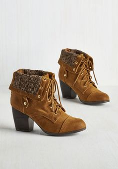 Cider House Sampling Bootie - Brown, Solid, Knitted, Casual, Good, Lace Up, Chunky heel, Ankle, Calf, Faux Leather