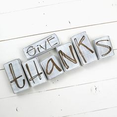 Give Thanks Blocks Set Fall Decorations Give Thanks Sign