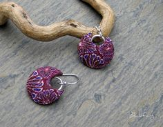 Polymer clay earrings textured with caning. Sea Flower 3 by Blickfang JM, via Flickr