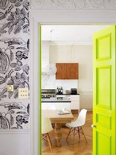 Unexpected interior door color: neon yellow (my craft room door re-paint idea) Interior Door Colors, Painted Interior Doors, Painted Doors, Wooden Doors, Decoration Inspiration, Interior Inspiration, Interior Ideas, Color Inspiration, Modern Interior
