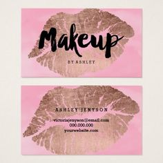 Makeup lips rose gold typography watercolor business card - elegant gifts gift ideas custom presents