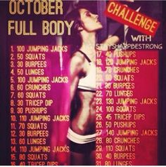 October Full Body Workout Challenge!! i can use this for the month of november