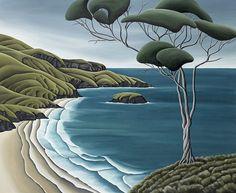 Otago Peninsula by Diana Adams. Available at Industria Landscape Art, Landscape Paintings, Frida Art, New Zealand Landscape, New Zealand Art, Nz Art, Wall Art For Sale, Coastal Art, Naive Art