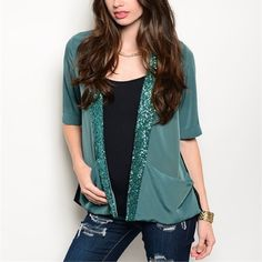 Green Sequin Top Brand new. This top is bold and bright and perfect for a night out with the girls or a date with a handsome man. Wink, wink. Tops