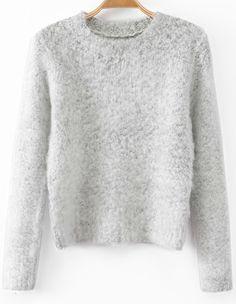 Grey Long Sleeve Crop Shaggy Sweater - Sheinside.com