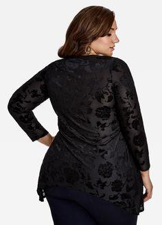 a697d4aba57 Rose Print Mesh Burnout Velvet Top - Ashley Stewart Big Girl Fashion
