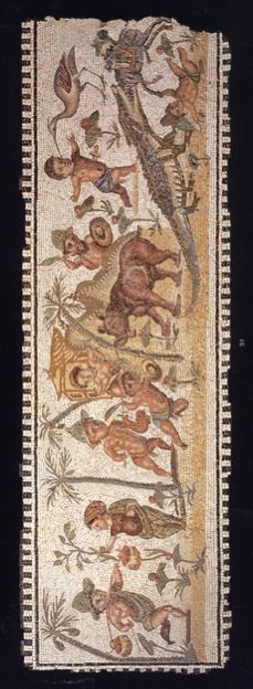 Roman mosaic panel of a pygmy hunt. The panel measures 26 ½ by 82 1/8 inches and is dated circa 2nd Century A.D.   The panel depicts, among other things, three pymies attacking a hippopotamus, a crane poking the eye of a pygmy, a crocodile swallowing a pack mule and exotic vegetation.   According to Aristotle pygmies were a tribe of semi-mythical dwarfs living in the swamps of Upper Egypt. They were extremely popular in the repertoire of Roman house decoration.