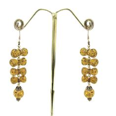 925 Sterling Silver Hand Crafted Amber Beautiful Women's Earrings For GIFT #Handmade #DropDangle