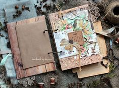 koscovascrap: Летний дневничок Custom Journals, Handmade Journals, Handmade Books, Mini Scrapbook Albums, My Scrapbook, Scrapbook Journal, Nature Journal, Journal Art, Altered Books Pages