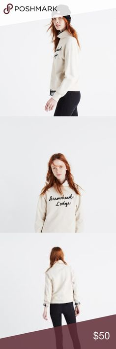 MADEWELL Arrowhead Lodge Funnelneck Sweatshirt Slouchy and slightly cropped, this cozy funnelneck sweatshirt has fuzzy chain stitch embroidery inspired by a road trip our design team took upstate New York (Arrowhead Lodge is kind of their dream destination).    Boxy fit. Cotton. Machine wash. Import. Madewell Tops Sweatshirts & Hoodies