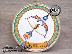 Sagittarius - Zodiac gift - Cross stitch kit beginner modern by AnnaXStitch - Hand embroidery kit - Wall art - DIY Craft kit for adults Japanese Embroidery, Modern Embroidery, Hand Embroidery Patterns, Embroidery Kits, Machine Embroidery Designs, Needlepoint Patterns, Modern Cross Stitch Patterns, Embroidery For Beginners, Craft Patterns
