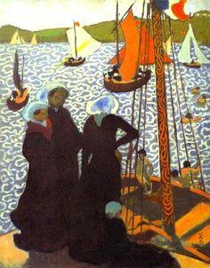 'Regata in Perros', öl auf leinwand von Denis Maurice (1870-1943, France)