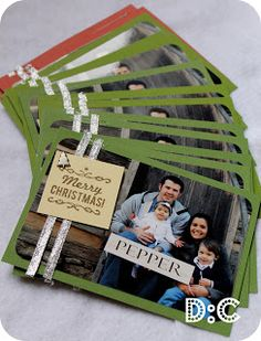 Take the photo and add some handmade backing and voila--a personalized Christmas card! Destination: Craft: Handmade Christmas Cards