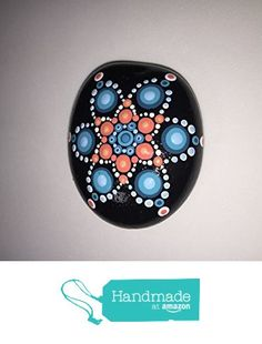 Hand Painted Blue and Coral Mandala Stone #130 from Mafa Stones http://www.amazon.com...such a pretty mandala star!