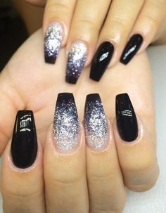 Black ombre glitter squared nails