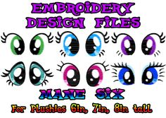 Mane Six Set of My Little Pony Plush Eyes (PES Machine Embroidery Design Pattern) MLP --- For Plushies 6in 7in 8in. $12.00, via Etsy.