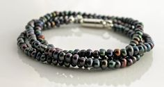 3 wrap peacock black freshwater pearl bracelet by TheSpiralRiver