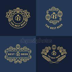 Baixar - Monogramas gráficos de linha. Design de logotipo. Floresce o modelo de ornamento quadro com barril, lúpulo e folhas para logotipos, rótulos, emblemas para cervejaria, bar, pub, brewing company, cervejaria, taberna. Conjunto de vetor — Ilustração de Stock #128038692