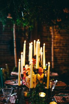 candle-filled tablescape // photo by I Love You Too Photography // http://ruffledblog.com/the-notwedding-nashville