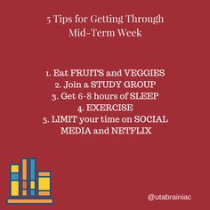 Keep going! Don't give up and use these tips to help make midterm week easier.