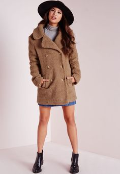 Teddy Shearling Wool Coat Camel - Coats and Jackets - Missguided