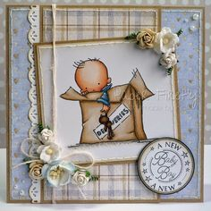 Baby boy card featuring LOTV image, papers and sentiment