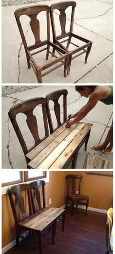36 New Ideas For Repurposed Furniture Garden Chair Bench Diy Furniture Chair, Diy Garden Furniture, Diy Chair, Refurbished Furniture, Repurposed Furniture, Pallet Furniture, Furniture Projects, Rustic Furniture, Furniture Makeover