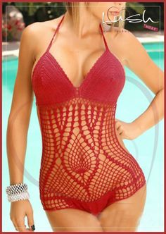 Red crochet swimwear available from Lush #lushwear #crochetswimwear #crochet #swimwear #southafrica