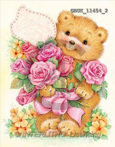 Stephen, CUTE ANIMALS, paintings, bear, flowers(GBUK11454/2,#AC#) illustrations, pinturas